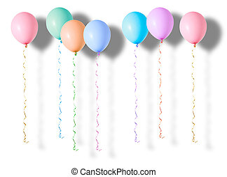 Multicoloured air flying balloons isolated on white...