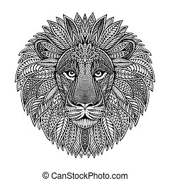 Hand drawn graphic ornate head of lion