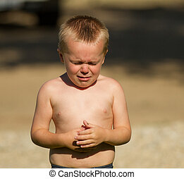 crying little guy - little guy upset at something and so he...