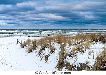 Baltic Sea coast in Prerow Germany in winter time