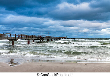 Pier on the Baltic Sea coast in Prerow Germany