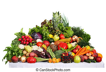 Healthy food background. Studio photo of different fruits on...