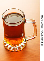 Beer glass on the wooden table