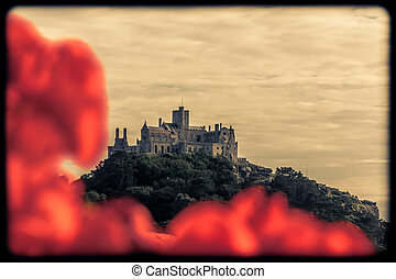 St Michaels Mount in sepia - Abbey on top of the hill of St...