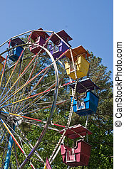 Colorful Ferris Wheel Cars at Carnival