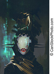 robot woman with artificial face