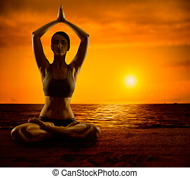 Yoga Meditation Lotus Pose, Woman Meditating Outdoor, Girl Exercise in Yoga Position on Sunrise