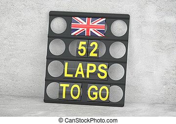 Silverstone racing, pit board with flag of UK, 3D rendering