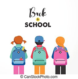 Poster with students, kids, backpacks Back to school concept...