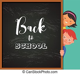 back to school - education, creativity and science concept illustration, poster with kids, boy girl