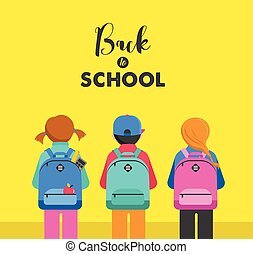Poster with students, kids, backpacks. Back to school...
