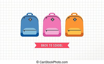 Student bag, backpack colorful set of icons. Back to school...