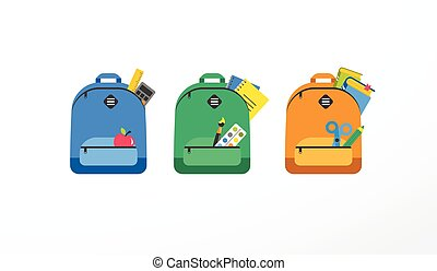 Student bag, backpack colorful set of icons Back to school...
