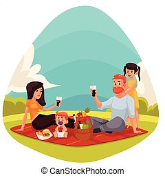 Happy family having picnic together outdoors