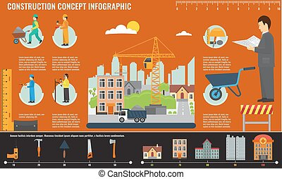 Construction infographics set with engineer and workers equipment tools.