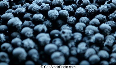 frozen blueberries with frost
