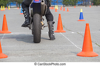 motorcyclist on competition start - motorcyclist on the...