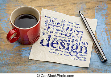 design elements and rules - a word cloud - handwriting on a...