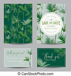 Save the Date Card Tropical Palms Leaves Wedding Invitation...
