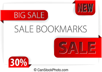Red paper bookmarks - Vector sale announcement