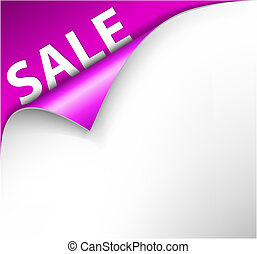 Pink sale corner background - paper with curl