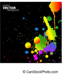 Vector rainbow background with splats and place for your...