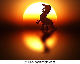 dragon silhouette on sunset background