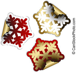 Snow flakes as labels and stickers