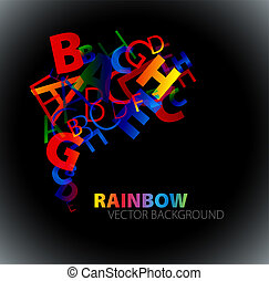 Abstract background with colorful rainbow letters - dark...