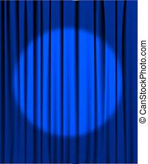 Blue curtain with a spotlight