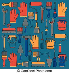 Repair and renovation tools Hand drawn vector icons - Repair...