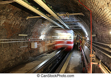 Old Tunnel Line in Istanbul city - Old Tunnel Line between...
