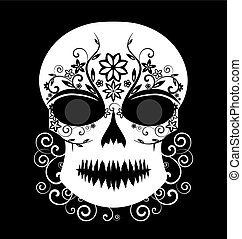 Day of The Dead - Skull vector with floral ornament black...
