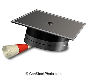 Student hat and scroll, vector art illustration.
