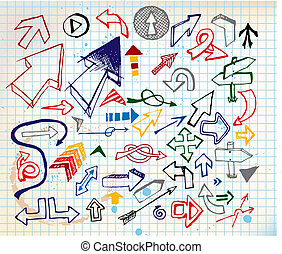 Big set of various colorful doodle arrows
