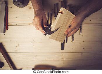 測量, 車間, 圖像, 木匠, 被收獲, 木頭, 年長者