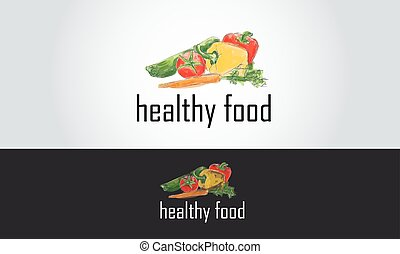 healthy food logo with hand drawn vegetables illustration