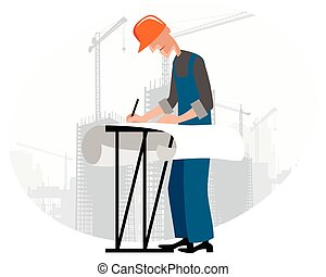 Builders at building site - Vector illustration image of a...