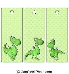 Cute tags or bookmarks with green dragon - Cute tags or...