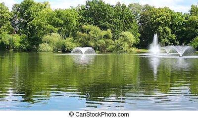 Fountains in the pond with green trees Summer park outdoors...