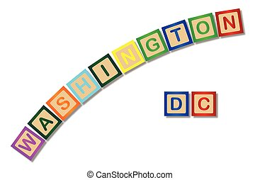 Washington DC Wooden Block Letters - A collection of wooden...