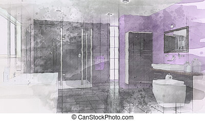 Contemporary Bathroom Interior with sketched watercolor effect