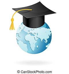 The graduation cap and globe icon. Mortar board and world vector isolated on white.