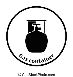 Camping gas container icon. Thin circle design. Vector...