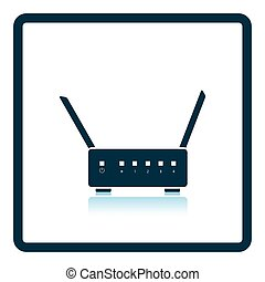 Wi-Fi router icon Shadow reflection design Vector...