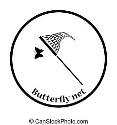 Butterfly net icon. Thin circle design. Vector illustration....