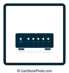 Ethernet switch icon Shadow reflection design Vector...