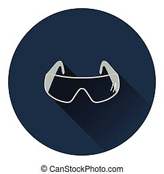 Icon of chemistry protective eyewear. Flat color design....