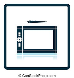 Graphic tablet icon. Shadow reflection design. Vector...