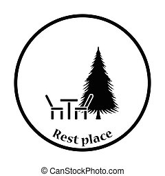 Park seat and pine tree icon Thin circle design Vector...